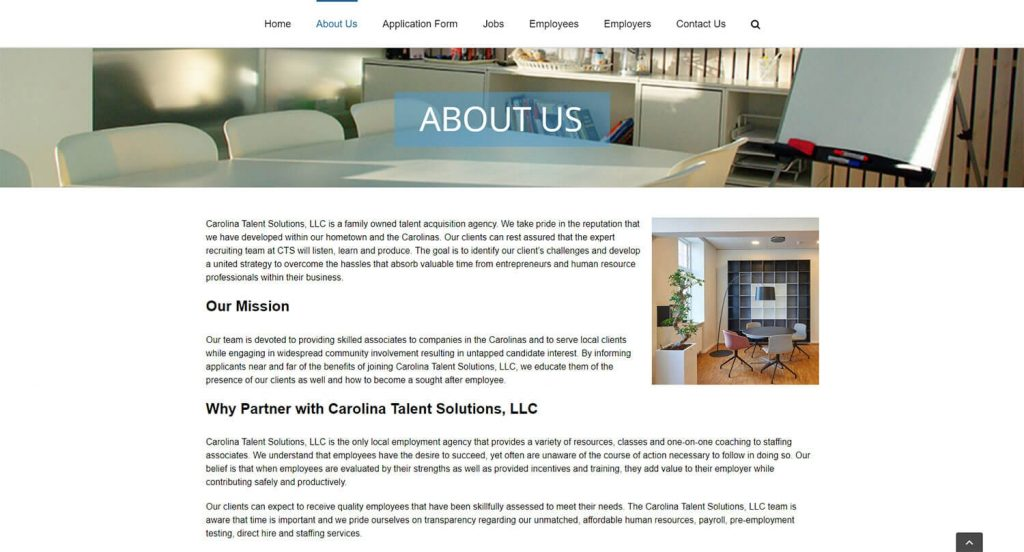 Carolina Talent Solutions About Page Example