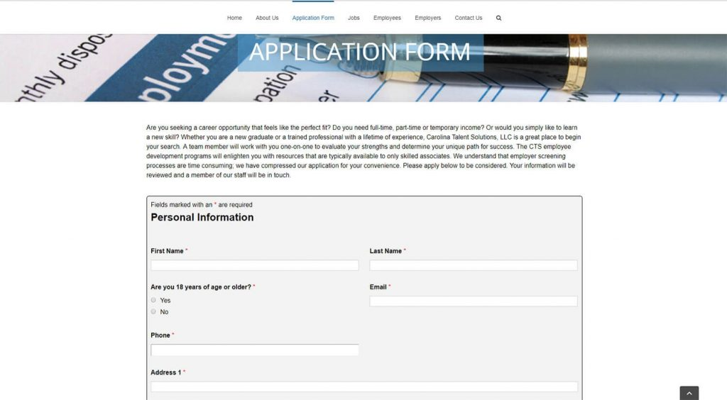 Carolina Talent Solutions Application Form Page Example