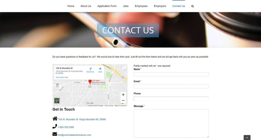 Carolina Talent Solutions Contact Page Example