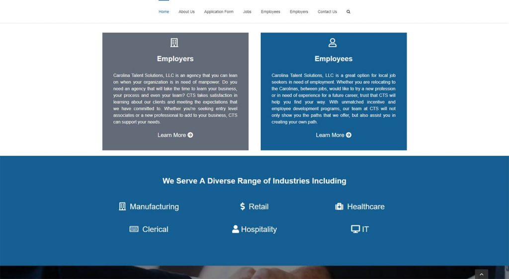 Carolina Talent Solutions Homepage Example 2
