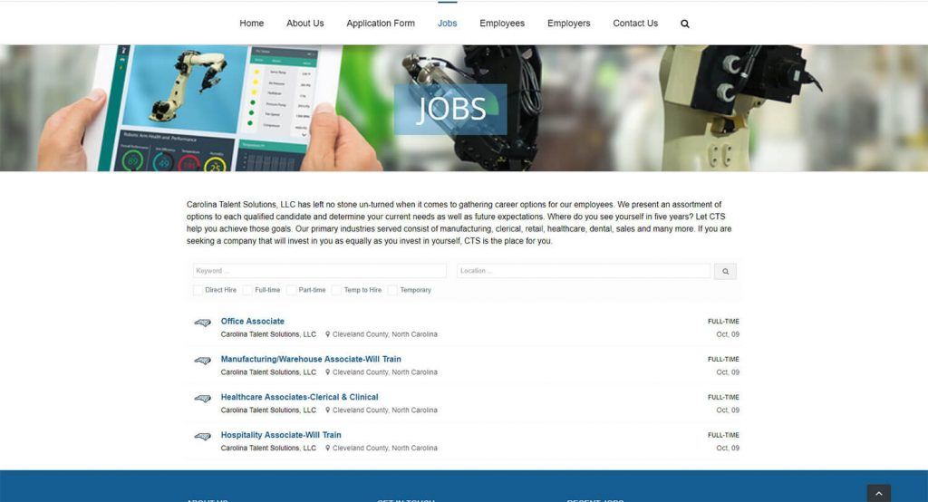 Carolina Talent Solutions Jobs Page Example