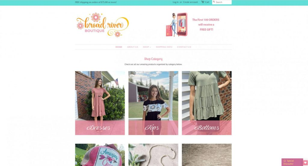 Broad River Boutique Homepage Example