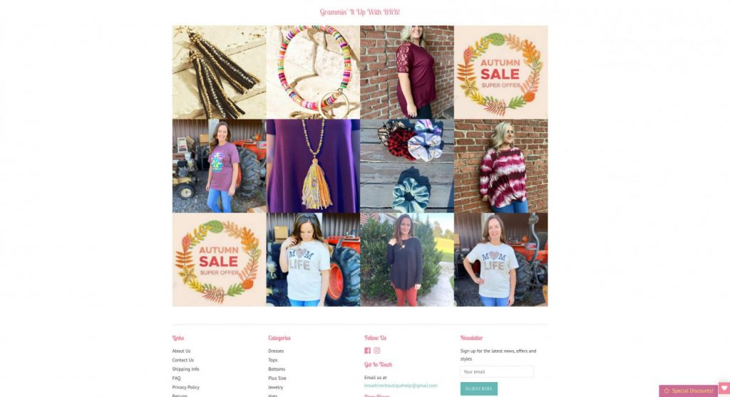 Broad River Boutique Homepage Example 3