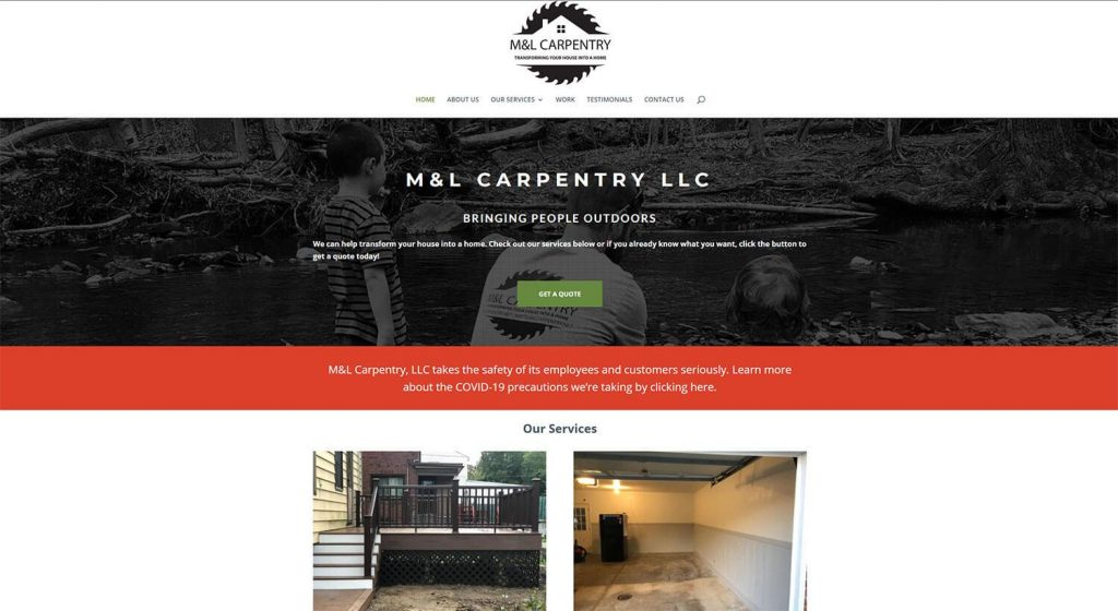 M&L Carpentry Homepage Example