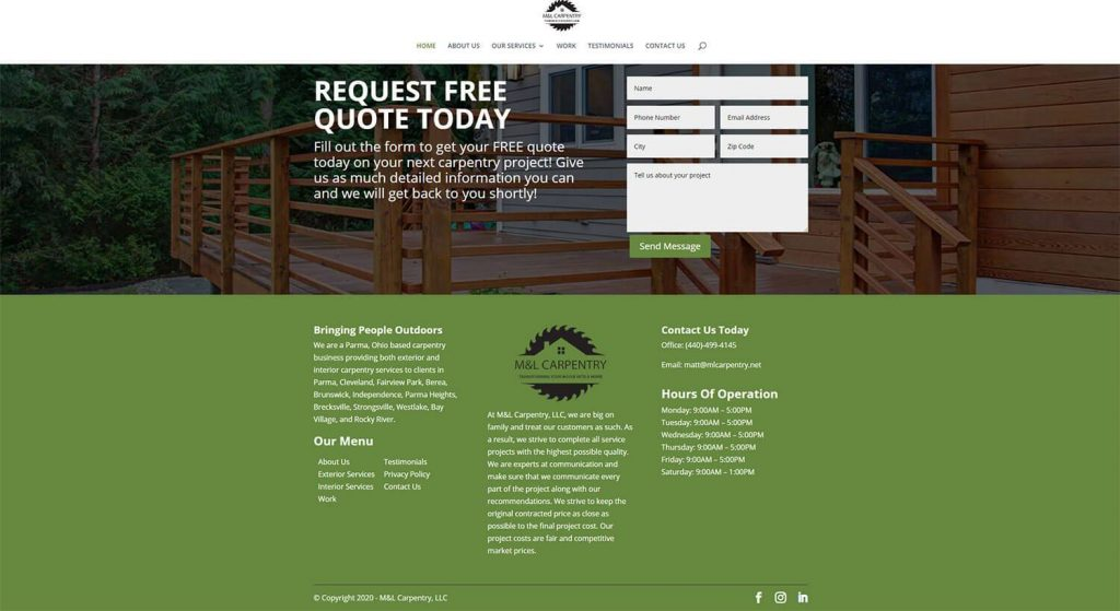 M&L Carpentry Homepage Example 4