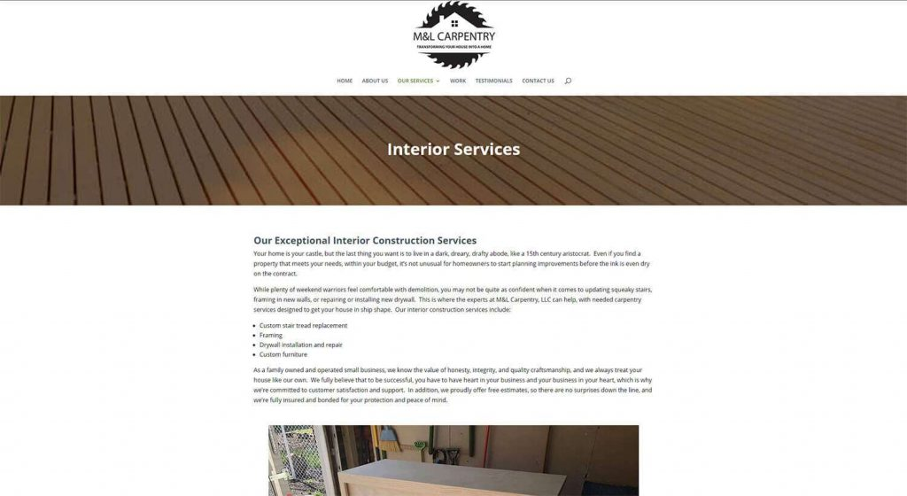 M&L Carpentry Interior Services Page Example