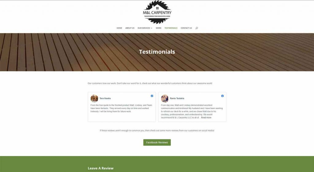 M&L Carpentry Testimonials Page Example
