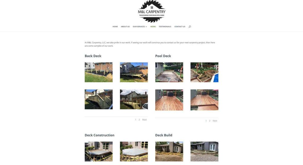 M&L Carpentry Work Page Example