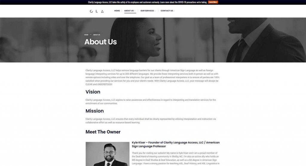 Clarity Language Access About Us Page Example
