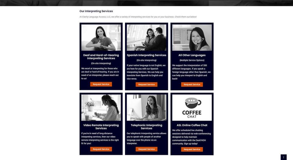 Clarity Language Access Homepage Example 2