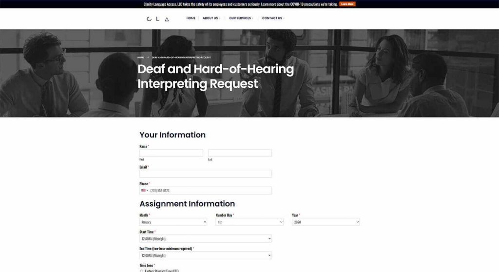 Clarity Language Access Interpreting Request Form Page Example