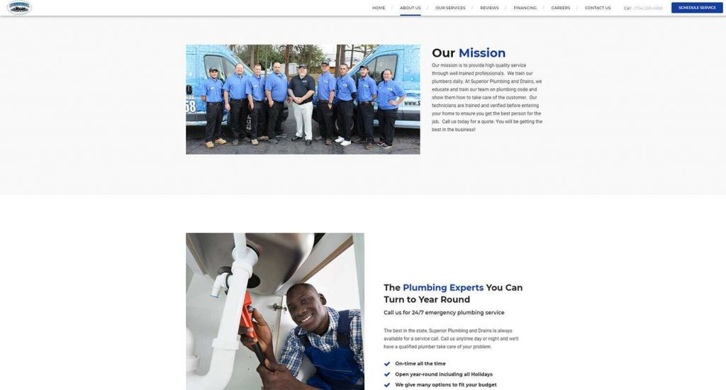 Superior Plumbing and Drains About Us Page Example