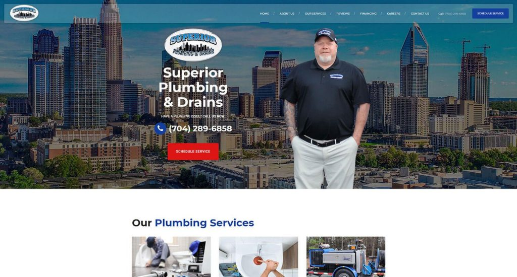 Superior Plumbing and Drains Homepage Example