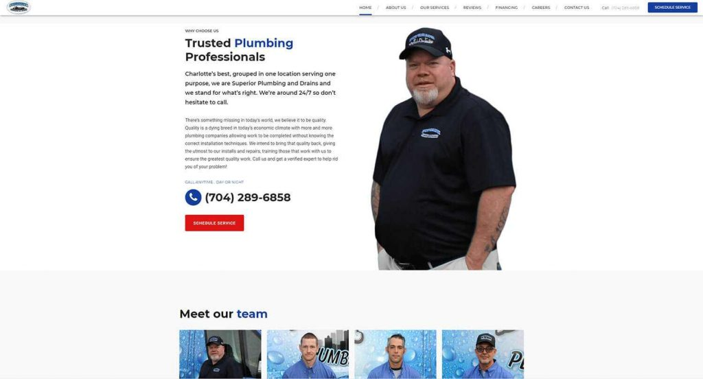 Superior Plumbing and Drains Homepage Example 4