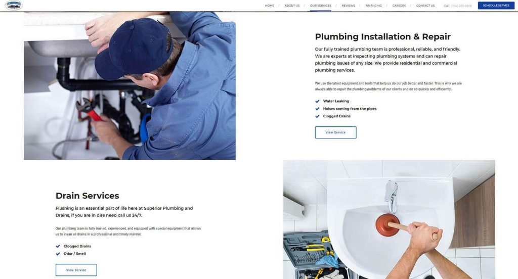Superior Plumbing and Drains Services Page Example