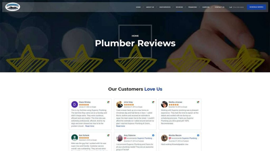 Superior Plumbing and Drains Reviews Page Example