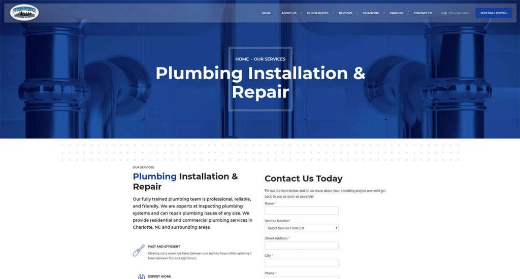 Superior Plumbing and Drains Service Page Example