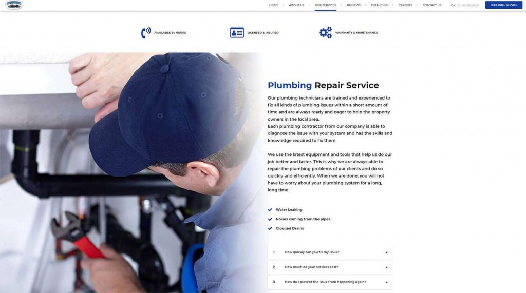 Superior Plumbing and Drains Service Page Example 3